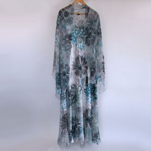 New Komarov Dress Gown & Shawl Set 1X Blue Floral